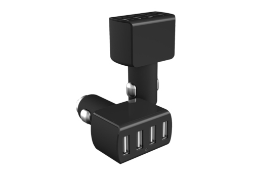 4 USB Ports Car Charger For Iphone 4 4S 5 5S 5C Ipad Samsung HTC Smart Phone