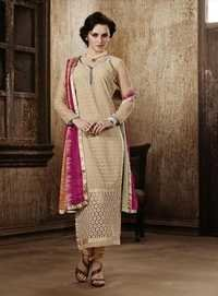 Buy Beige Georgette Embroidery Designer salwar suit