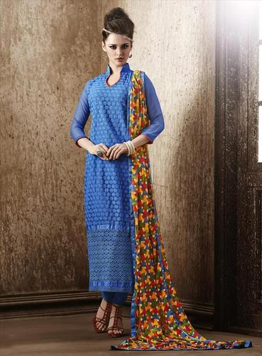 Splendid Blue Georgette Embroidery Designer salwar sit