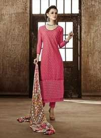Stylish Pink Georgette Embroidery Designer salwar suit
