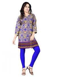 Blue Printed cambric cotton kurti