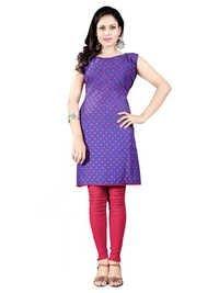 Purple Dotted Print Cotton Kurti