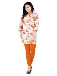 Printed Orange Cotton Kurti