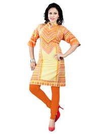 Fancy Flat Orange Cambric Cotton Kurti