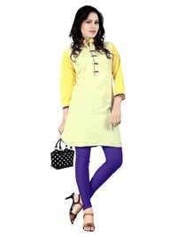 Yellow Cambric Cotton Kurti