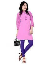 fancy Pink Cambric Cotton Kurti