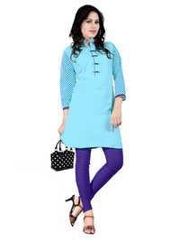 Blue Cambric Cotton Kurti