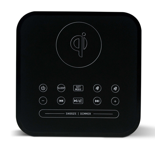 Qi bluetooth speaker alarm clock with FM radio LED display
