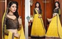 Fancy Yellow Chiken And Embroidered Lahenga Suit