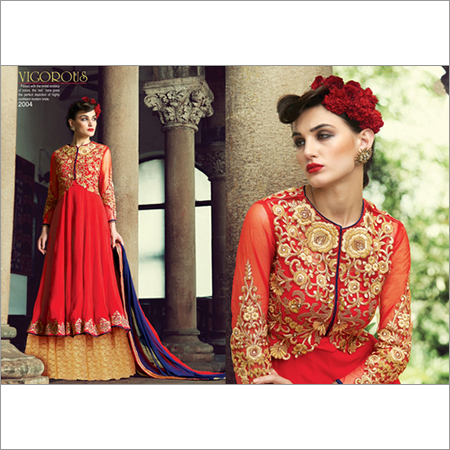 Stylish Red Georgette and net Embroidery Designer salwar suit