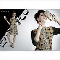 Black & Creamy Work Georgette Kurti