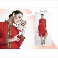 Western Zip Pattern Red Glossy Kurti
