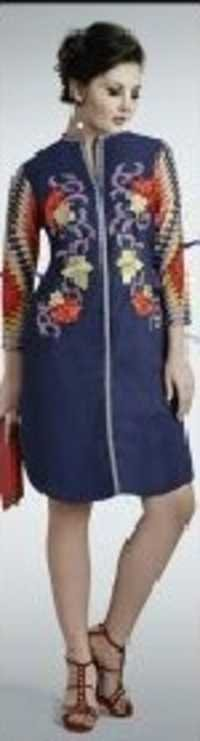 Navy Embroidered Peacock Kurti