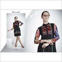 Black with Multi Print Georgette Kurti