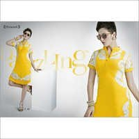 Designer Yellow Georgette Kurti