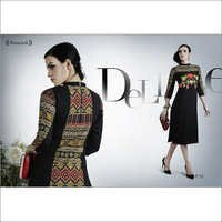 Black with Multi Design Georgette Kurti