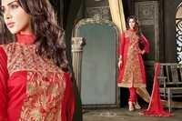 Fancy Red Embroidered Chanderi Salwar Kameez