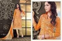 Orange Embroidered Chanderi Salwar Kameez