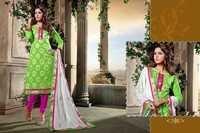Parrot Green WIth Pink Chanderi Embroidered Salwar Kameez