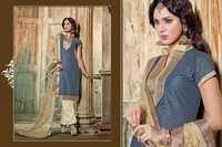 Grey And Golden Designer Chanderi Salwar kameez
