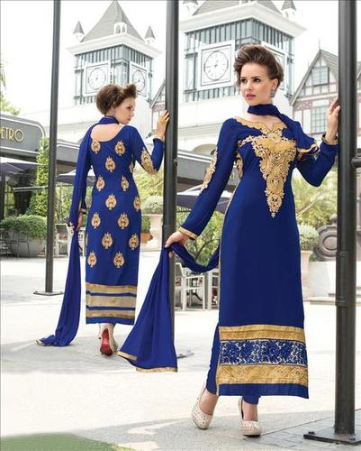 Blue Pure Georgette Heavy Thread Embroidery Work Suit.