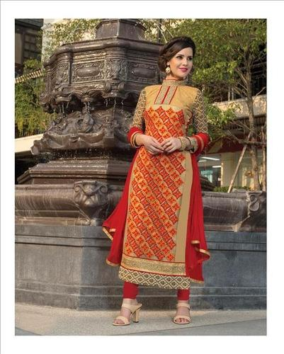 Pure Georgette Beige Anarkali Style Party Wear Suit