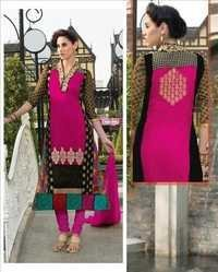 Buy Black and Pink Pure Georgette Anarkali Suit