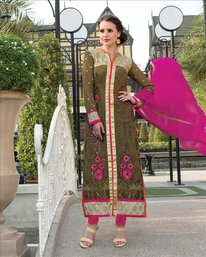 Mehendi Green Pure Georgette Embroidery Work Suit.
