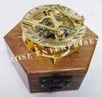 Brass Nautical Sundial Compass with Hexagon Wooden Box