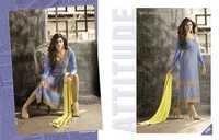 Mugdha Beige Blue Georgette Embroidered Salwar Kameez
