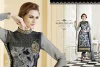 Black and Gray Georgette Suit with Chiffon Dupatta
