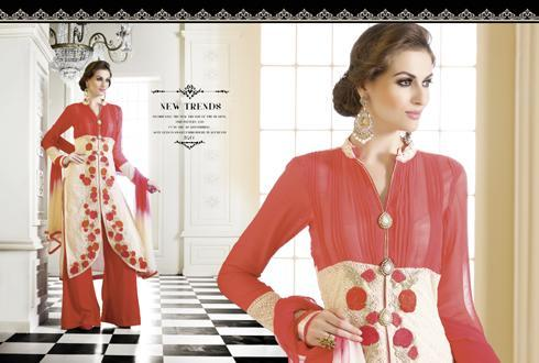 Orange and Cream Georgette  Style Suit