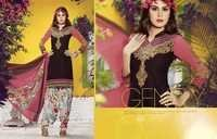 Brown Embroidered With Multicolor Patiala Suit