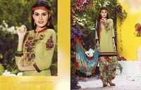 Olive Green Embroidered With Multicolor Patiala Suit