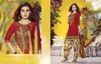 Red Embroidered With Multicolor Patiyala Suit