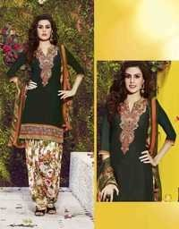 Green Embroidered With Multicolor Patiala Suit