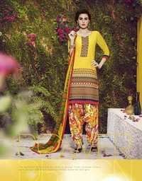 Yellow  Embroidered With Multicolor Patiala Suit