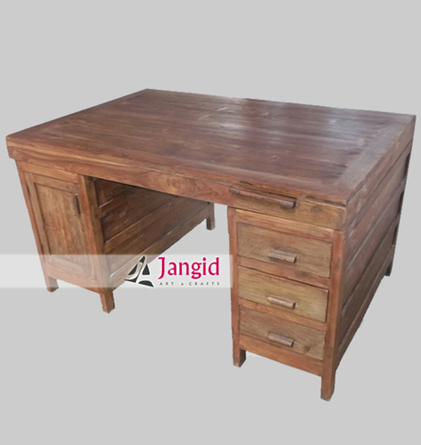 Indian Teak Wood Antique Writing Table
