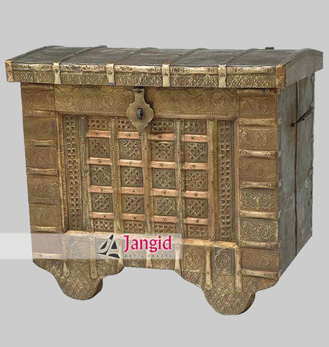 Wooden Brass Fitted Old Storage Box India