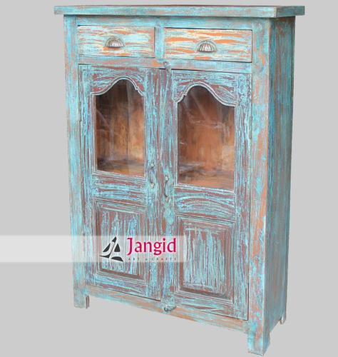 Antique Indian Wooden Glass Almirah