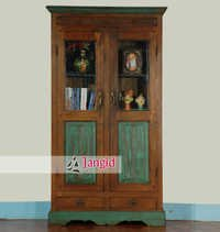 Teak Wood Glass Almirah India