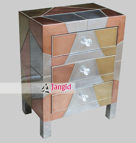 Indian Wooden Metal fiited Bedside