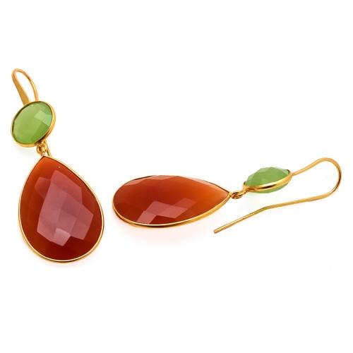 Orange & Sea Green Chalcedony Gemstone Earring