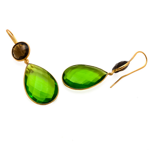 Peridot Quartz & Smoky Topaz Gemstone Earring