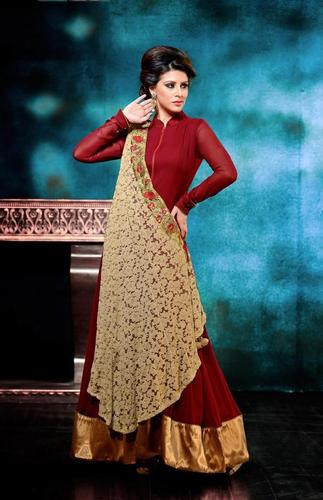 Maroon and Cream Georgette Party and Wedding Suit.
