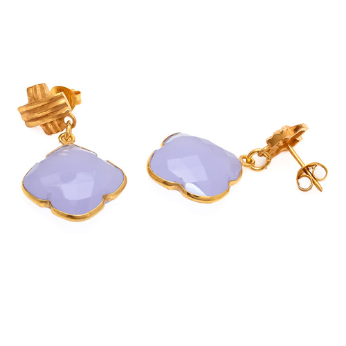 Lavender Chalcedony Gemstone Earring