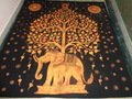 INDIAN PRINTED TAPESTRIES TREE OF LIFE ELEPHANT