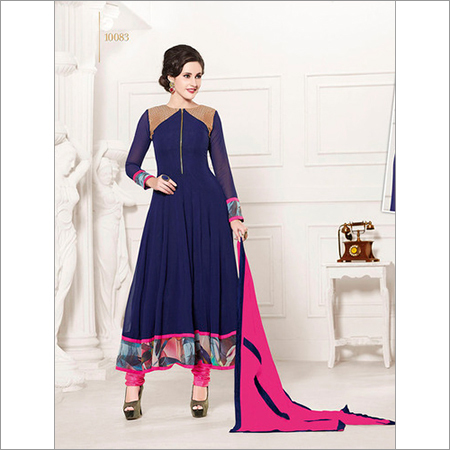 HEAVY FLOOR LENGTH BLUE AND PINK ANARKALI SUIT