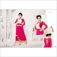 HEAVY FLOOR LENGTH PINK AND WHITE ANARKALI SUIT