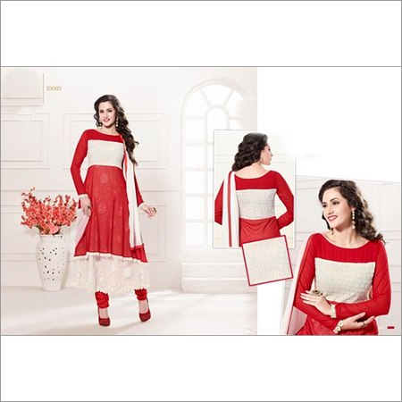 AMAZING RED AND WHITE ANARKALI SUIT